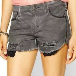 Free People Gray Distressed Denim Cut-Off Shorts